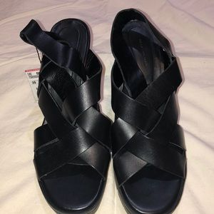 Zara black leather chunky Sandals